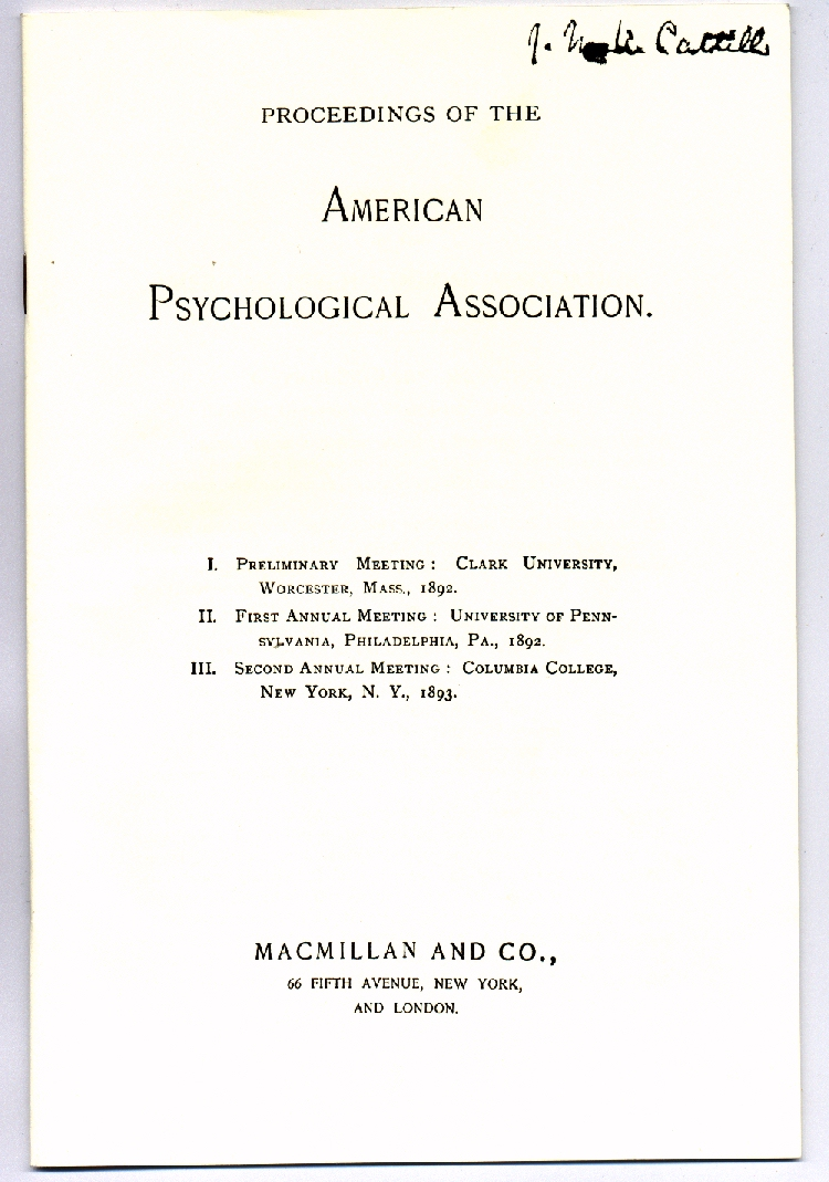 classics in the history of psychology proceedings of the american psychological association 1892 1893